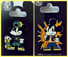 Disney Parks 2 Pins Lot Mickey Mouse skate board + headphones cool guy -- NEW