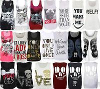 womens ladies graphic print sleeveless vest tank top summer t shirt size 8-14