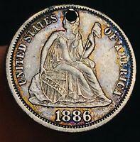 1886 Seated Liberty Dime 10c Love Token HIGH GRADE Sharp US Silver Coin CC4037