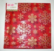 VINTAGE CHRISTMAS GIFT WRAP GOLD ON RED SNOWFLAKE DESIGN 2 SHEETS NEW TIE TIE