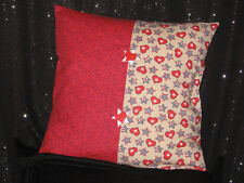 """Handmade Throw Pillow Cover - 14"""" - Stars and Hearts - Multi color"""