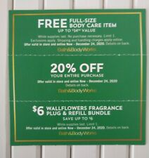 3 Bath & Body Works Coupons Full-Size Body Care & 20% off & $6 Wallflower