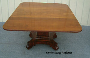 00001 Antique Empire Burled Mahogany Dropleaf Dining Table