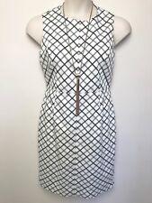 SPORTSCRAFT SIGNATURE black white check sleeveless fitted dress sz 12