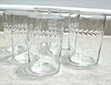 Vintage FEDERAL Etched Glass Tumblers Juice Laurel Leaf Wreath 6 glasses MINT