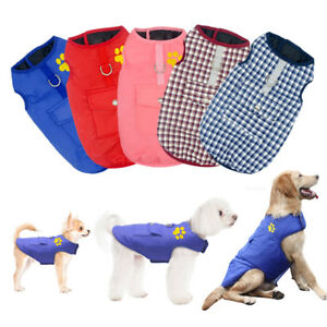 Dog Winter Clothes Waterproof Small Large Dog Coat Jacket Reversible Pet Vest