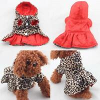 Dog Leopard Print Red Dress Coat Reversible Pet Clothes Size XS S Small Large