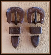 """2 - 1/2"""" Hand Engraved / Handmade Iron Buckle Sets  - Spur Straps Headstall  #5"""