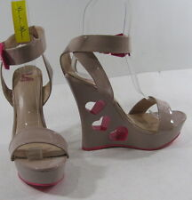 """Nude/Pink heart 5.5""""high wedge heel 1.5""""platform ankle strap sexy shoes Size 10"""