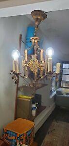 Vintage Antique 20s 30s Ceiling Light Lamp Fixture  ART NOUVEAU DECO POLYCHROME