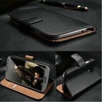 Luxury Genuine Real Leather Flip Case Wallet Cover Stand For LG Phone Models