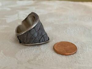 Zohan Sterling Silver Pebble Leather Men's Ring - Size 10-11