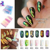 BROKEN GLASS NAIL FOIL 6 Colours NAILS EFFECT Stickers Shattered Angel Paper UK