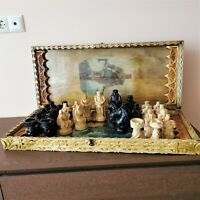 Fastship New Very big Brutal rustic hand carved chess set Wooden large chess