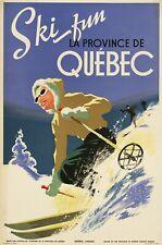 Vintage Travel Poster Ski fun La Province de Quebec 35.8 x 24 inch