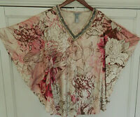 Catherines 2X 18 20 Top Tunic Shirt Velvet Velour Batwing Dolman Pink Floral   &