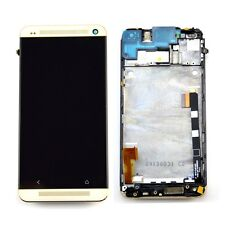 NEW LCD Display Touch Screen Digitizer Assembly for HTC One M7 Gold With Frame