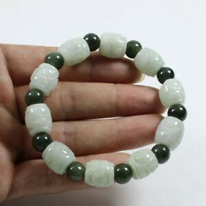 """Certified """"A"""" Natural Jadeite Carving Green Beads Hand catenary Bracelet j3293"""