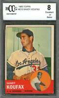 Sandy Koufax Card 1963 Topps #210 Los Angeles Dodgers BGS BCCG 8