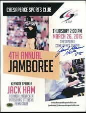 JACK HAM SIGNED HALL OF FAME INSCRIPTION AUTOGRAPH AUTO FLYER *STEELERS*
