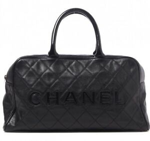 CHANEL BLACK CAVIAR & PATENT LEATHER LOGO QUILTED LARGE TRAVEL BOWLER BAG