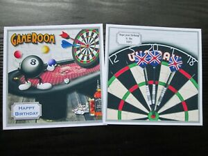2 x MENS GAMESROOM & DARTS  Male /Boy---- Card Toppers (NEW SIZE)
