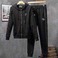 PHILIPP PLEIN Black Letters Men Long Sleeve Sports Suit PS810# Size M-3XL