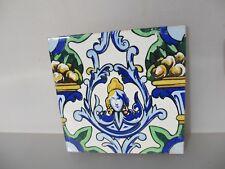 "Large Vintage Spanish Ceramic Tile Old french Empire Fruit Gilt Leaf Goddess  8"""