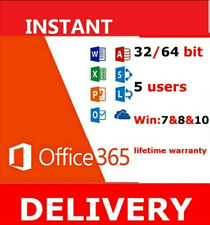 MS Office 365 Lifetime Account Office 2019 Pro 32/64 Bits For 5 PCs Mac Win NEW