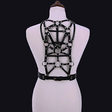 RESTYLE SMALL GEOMETRY HARNESS BELT. FAUX LEATHER. O-RING DETAILS. BONDAGE.