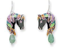 Zarah Zarlite JEWELED BLACK HORSE Aventurine Bead Enamel Earrings Silver-Plated