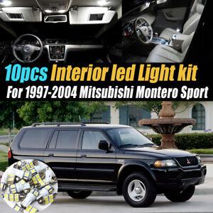 10Pc Car Interior LED White Light Bulb Kit for 1997-04 Mitsubishi Montero Sport