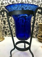 """⭐️Heavy Ice Cobalt Blue Glass 16"""" tall Vase wide top with metal stand⭐️"""