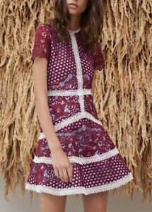 New Alexis $655 Rustikan Dress in Burgundy Mosaic Wedding Cocktail Size S