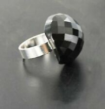 Ladies Dress Ring Silver with Large Black Oval Shaped Beaded Stone Size S Or M