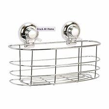 Naleon Suction Chrome Oval Basket Caddy - Storage Shower Removable