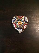Vintage Signed V Villani Italy 1920's Micro Mosaic Heart Pin Brooch