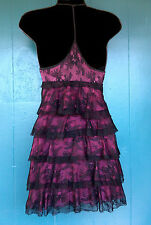 Gorgeous Bebe Black Lace Over Pink Purple Silk Lining Tiered Baby Doll Dress XS.