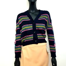 Anthropologie Moth Womens Cardigan Size XS UK 8 Blue Stripe 2% Cashmere Flowers