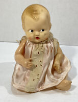 "6.5"" Vintage Irwin U.S.A. Hard Plastic Jointed Baby Doll Cute Vintage Dress"