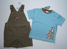 NWT Gymboree Surf Camp 2T Beach Buggy Short Overalls & Blue Lifeguard Pup Tee