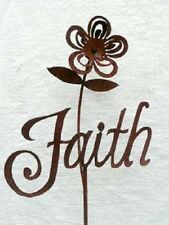 Iron Cut Metal Word Faith Plant Stake Garden Landscape Yard Lawn Outdoor Decor