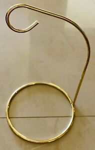 """Gold Metal Ornament Display Stand Wire Hanger Holder With Hook 6"""" Tall Set Of 8"""