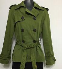 Zara Botton Down Khaki Green Women Trench Coat Jacket Sz Small