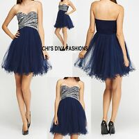 Beautiful Quiz Navy And Silver Sequin Diamante Mini Prom Dress Sizes 10,12