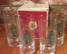 MIB Spode Christmas Tree Highball Glasses Set of 4 Original Box Gold Rim NOS