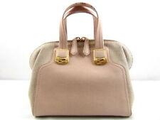 US seller Authentic FENDI CHAMELEON LEATHER CANVAS HAND BAG PURSE Good