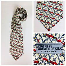 Threads of Silk Equestrian Necktie Tie Beige Cream 100% Silk  N34A
