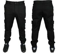 Only & Sons Mens Cargo Combat Cuffed Jeans Casual Trousers Black  All Waist Size
