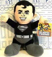 "New DC Comics Super Friends Superman Plush Black Costume Doll Toy Factory 13"" NW"